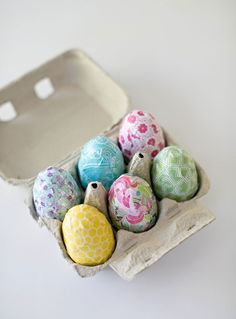 Decorate your spring eggs with your favorite colorful paper patterns and some messy mod podge.