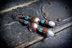tribal earrings • handhammered copper disc • natural Turquoise stone • organic seed beads • Job's teardrop • ethnic jewelry • orange Jasper by entre2et7 on Etsy