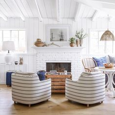 white sitting room with white fireplace and blue accent chairs