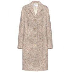 Acne Studios Tessa Trash Wool-Blend Coat (45,980 PHP) via Polyvore featuring outerwear, coats, beige, brown coat, colorful coat, beige coat, wool blend coat and acne studios