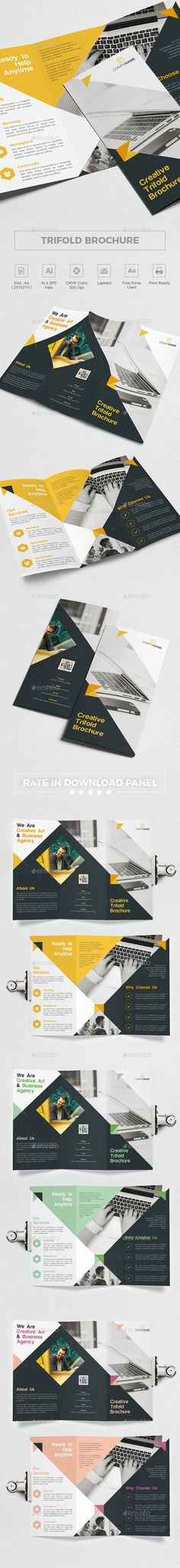 Trifold Brochure Template Vector EPS, AI Illustrator - Download: https://graphicriver.net/item/trifold-brochure/21759708?ref=ksioks