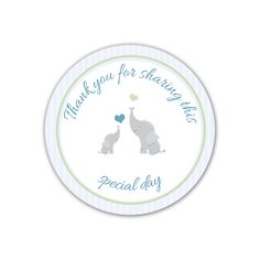 40 Thank you Label Stickers Elephant Baby Shower Party Favors Stripes Blue Green #BabyShower