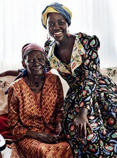 Lupita Nyong'o with her grandmother in Vogue fashion editorial shot by Mario Testino in Kenya