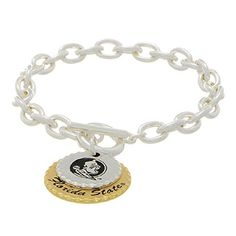 """Clearance Silver Tone Collegiate Toggle Bracelet Featuring Two Mixed Metal Disk Stamped """"Florida State"""" Sports Team Accessories http://www.amazon.com/dp/B00STPVUSY/ref=cm_sw_r_pi_dp_h6WIwb05NXTW9"""