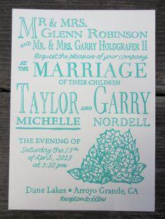 Letterpress Wedding Invitations  Country Garden by SeasidePress, $3.00