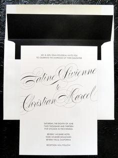 Classic Script Black and White Wedding Invitation