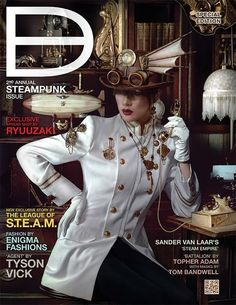 Dark Beauty Magazine  Hey all you Steampunk fans, boy do we have something special for you this year! ANNOUNCING OUR 2nd Annual Steampunk Special issue. Full of Fashion, stories, and steamy surprises! Available July 1st at www.darkbeautymag.com  — with The League of S.T.E.A.M., Ryuuzaki Julio, Tyson Vick, Enigma Fashions, Topher Adam and Sander Van Laar Fotograaf Pixellaar.