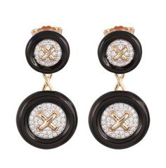 Button Black Earring - Belle Étoile Fine Designer Jewelry