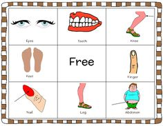 Body parts Bingo game- Part of a complete 287 All about me package containing games and tools for my body, feelings and emotions and the 5 senses. http://www.teacherspayteachers.com/Product/All-About-Me-My-Body-Feelings-5-Senses-Literacy-Worksheets-1097668