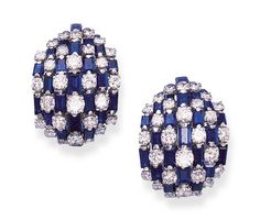 PS, BY VAN CLEEF & ARPELS   Each designed as a convex seven-row panel of alternating circular-cut diamonds and calibré-cut sapphires, mounted in platinum and 18k white gold, with French assay marks  Signed VCA for Van Cleef & Arpels, no. 74806