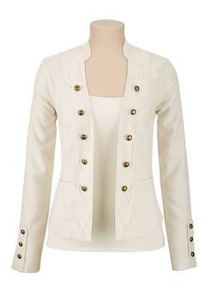 Ivory Textured Military jacket with lace