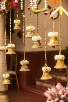 Looking for Hanging temple bells South Indian decor? Browse of latest bridal photos, lehenga & jewelry designs, decor ideas, etc. Decoration Hall, Ramadan Decoration, Marriage Decoration, Diwali Decorations, Festival Decorations, Flower Decorations, Kalash Decoration, Diya Decoration Ideas, Indian Decoration