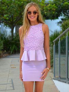 Pastel lilac peplum dress