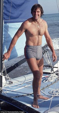 Transition underway: The gold medalist revealed a suspiciously smooth chest, legs, and arms during a trip to Greece with his family in a marked change from the hairy, muscular man pictured during a Sports Illustrated shoot in 1980 (pictured) Hairy Legs Guys, Hairy Men, Kardashian Style, Kardashian Jenner, Bruce Jenner, Olympic Champion, Presents For Men, Muscular Men, Hollywood Star