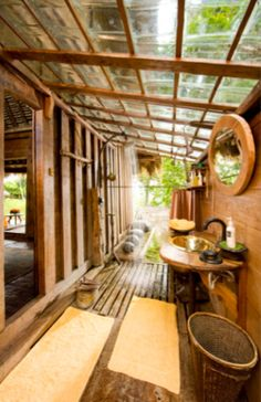 Bambu Indah Ubud the Facilities- villa bali villas Outdoor Baths, Outdoor Bathrooms, Outdoor Showers, Thai House, Bamboo House Design, Bali Resort, Tropical Houses, House In The Woods, Future House