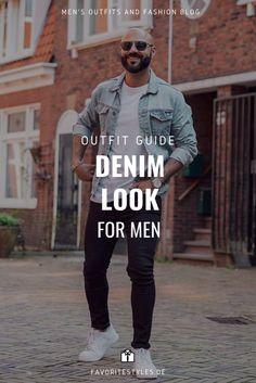 Erfahre welche Teile zu diesem Herrenoutfit passen! Casual Wear Outfit für Männer. Denim Look im Streetstyle mit Jeanshose, T-Shirt, Jeansjacke und Sneaker. Lässiges Outfit für die Freizeit, passend für den Frühling. Aktuelle Outfits für Männer mit passenden Teilen findest Du bei Favorite Styles. Herrenmode, Outfits aller Marken und Stile. Hole Dir jetzt Ideen für dein Männeroutfit!