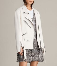 Womens Oversized Leather Biker Jacket (White)