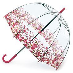 Birdcage - see through PVC dome umbrella - Floral Border - Brolliesgalore
