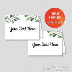 EDITABLE Food Tent Cards, Greenery Food Labels, Greenery Calligraphy Place Cards, Editable Buffet Signs, INSTANT PRINTABLE