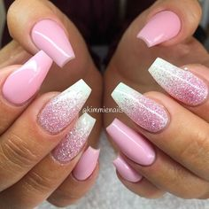 "Innocent pink, & pink glitter ""rain"" for my sweet hairdresser @hairbymli ❤️… Nail Design, Nail Art, Nail Salon, Irvine, Newport Beach"
