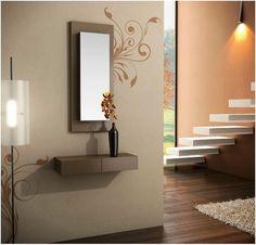 REPISAS EN HALL - Buscar con Google Design Case, Wall Design, House Design, Living Room Designs, Living Room Decor, Bedroom Decor, Hall Furniture, Furniture Design, Dressing Table Design