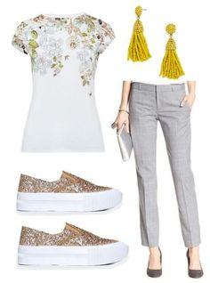 Eclectic look for spring: Gray pants, printed tee, gold glitter slip-ons, tassle earrings