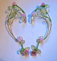 Pair of GoldenWoven Wire Elf Ear Cuffs with Czech Glass Flowers and Green Leaves Renaissance, Elven by MerlinsApprentice Wire Ear Cuffs, Elf Ear Cuff, Wire Crafts, Jewelry Crafts, Jewelry Art, Jewlery, Fairy Jewelry, Fantasy Jewelry, Elfen Fantasy