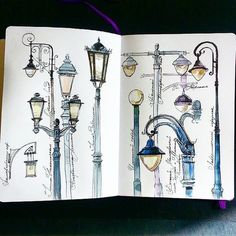 lovely example of studying lights and lamps for urban sketching Art Inspo, Kunst Inspo, Drawing Sketches, Art Drawings, Sketching, Arte Sketchbook, Travel Sketchbook, Sketchbook Inspiration, Sketchbook Ideas