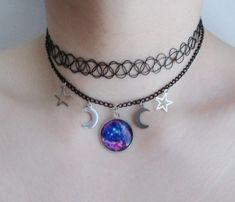 galaxy choker necklace by OfStarsAndWine on etsy  pastel goth, grunge, nu goth, soft grunge