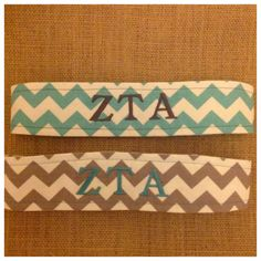 Zeta Tau Alpha chevron reversible fabric headbands