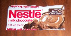 1970's or 80s NESTLES Real Milk Chocolate Candy Bar Wrapper Nestle Chocolate, Retro Candy, Candy Bar Wrappers, Milk
