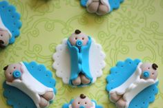 Whimsical Boy Baby Shower Fondant Toppers - Perfect for Cookies, Cupcakes and Other Edible Treats Baby Cupcake, Baby Shower Cupcakes, Shower Cakes, Shower Bebe, Baby Boy Shower, Cupcakes For Boys, Baby Boy Cupcakes, Fondant Decorations, Fondant Toppers