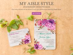 Sweepstakes Ended. Check back for more Pinterest Sweepstakes! // Pin it to win it! Enter the Wedding Paper Divas' My Aisle Style Sweepstakes. One lucky Grand Prize winner will win $500 of premium wedding stationery. Three runners-up will win $150 toward wedding stationery. Click here to enter: http://sweeps.piqora.com/newcollections