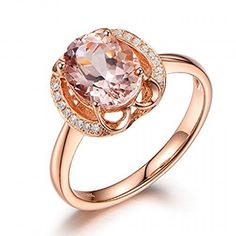 Oval Morganite Engagement Ring Pave Diamond Wedding 14K Rose Gold 1.87ctw,Floral. Available at www.Brandinia.com
