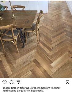 Herringbone Wooden Floors, Wooden Flooring, Dining Table, Furniture, Home Decor, Wood Flooring, Decoration Home, Parquetry, Room Decor
