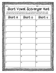 Short Vowel Scavenger Hunt (E, O, & U) Word Work Activities - freebie could change this up and use vowel digraphs, r controlled vowel etc Short Vowel Activities, Word Work Activities, Learning Activities, Daily 5, Teaching Reading, Guided Reading, Early Reading, Reading Resources, Reading Strategies