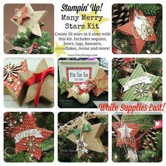 DIY Christmas decor for trees, mantle or table. Many Merry Stars kit from Stampin' Up!  www.PattyStamps.com