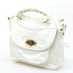 Twist-Lock Studded Mini Satchel, White , One Size - Smoothie | YESSTYLE