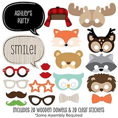 The perfect photo booth begins with fabulous photo booth props. Our printed and cut kit will help you easily create fun party photos at your baby shower or birthday party. This Woodland Creatures party photo booth props kit come with 20 pieces, one of whi Baby Shower Photo Booth, Baby Shower Photos, Baby Shower Themes, Baby Boy Shower, Woodland Creatures, Woodland Animals, 1st Birthday Parties, Boy Birthday, Birthday Ideas