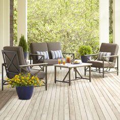 Garden Treasures Arrowhead Springs 4 Piece Outdoor Conversation Set    SC K 315SFA2 0+SC K 315DF2 0 Bundle