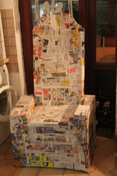 throne made of paper mache.. it was made from an old chair..