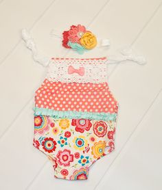 Limited Edition - newborn romper in a stretch floral and polka knit in coral, red, yellow, pink, aqua, orange and teal by SoTweetDesigns on Etsy