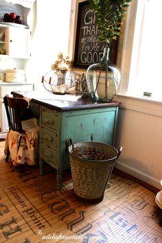 Demijohn olive bucket annie sloan chalk paint desk chalkboard french country cottage kitchen