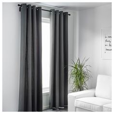 MERETE Curtains, 1 pair IKEA The thick curtains darken the room and provide privacy by preventing people outside from seeing into the room. Ikea Curtains, Room Darkening Curtains, Curtains With Blinds, Curtains Living, Extra Long Curtains, Thick Curtains, Grey Eyelet Curtains, Velvet Curtains, Bedroom Ideas