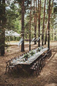 Свадебный фуршетный стол на природе