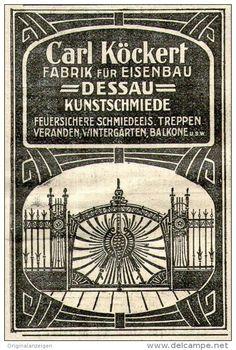 Original-Werbung/ Anzeige 1910 - KUNSTSCHMIEDE CARL KÖCKERT - DESSAU - ca. 50 x 75 mm