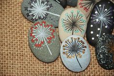 Painted Stone Dandelion Pebbles with Nature Designs floral Stone Art Painting, Pebble Painting, Rock Painting Ideas Easy, Rock Painting Designs, Zen Meditation, Nature Design, Paint Pens For Rocks, Sea Turtle Art, Funky Painted Furniture