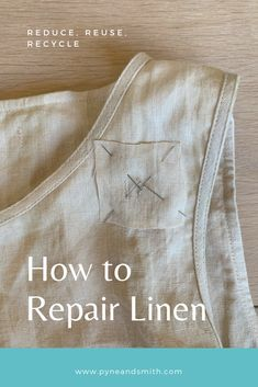 Simple DIY tutorial on how to repair your linen dress. Repairing clothing is a great way to make your wardrobe last and an essential way to promote slow fashion whilst helping the environment. clothes How to Repair Linen Slow Fashion, Diy Fashion, Recycled Fashion, Recycled Clothing, Thrift Store Refashion, Soda Can Art, Dress Card, Diy Dress, Newspaper Dress