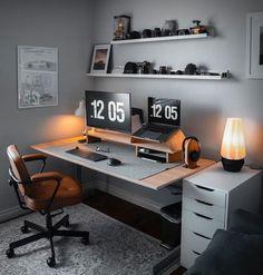 Home Office Setup, Home Office Space, Home Office Design, Office Table, Office Ideas, Office Workspace, Modern Home Office Desk, Home Studio Setup, Dream Desk