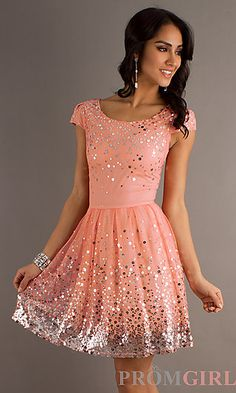 Short Scoop Neck Party Dress with Cap Sleeves at PromGirl.com